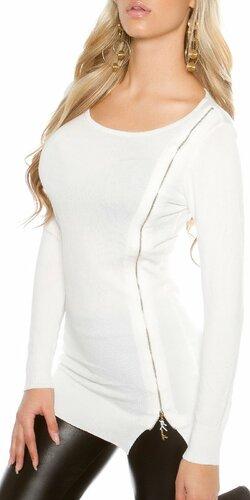 Dámsky pletený sveter so zipsom KouCla Biela