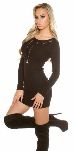 Dámske pletené šaty s ozdobnou retiazkou s kľúčom | Čierna