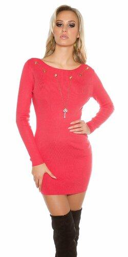 Dámske pletené šaty s ozdobnou retiazkou s kľúčom | Koralová