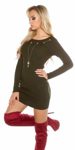 Dámske pletené šaty s ozdobnou retiazkou s kľúčom | Khaki