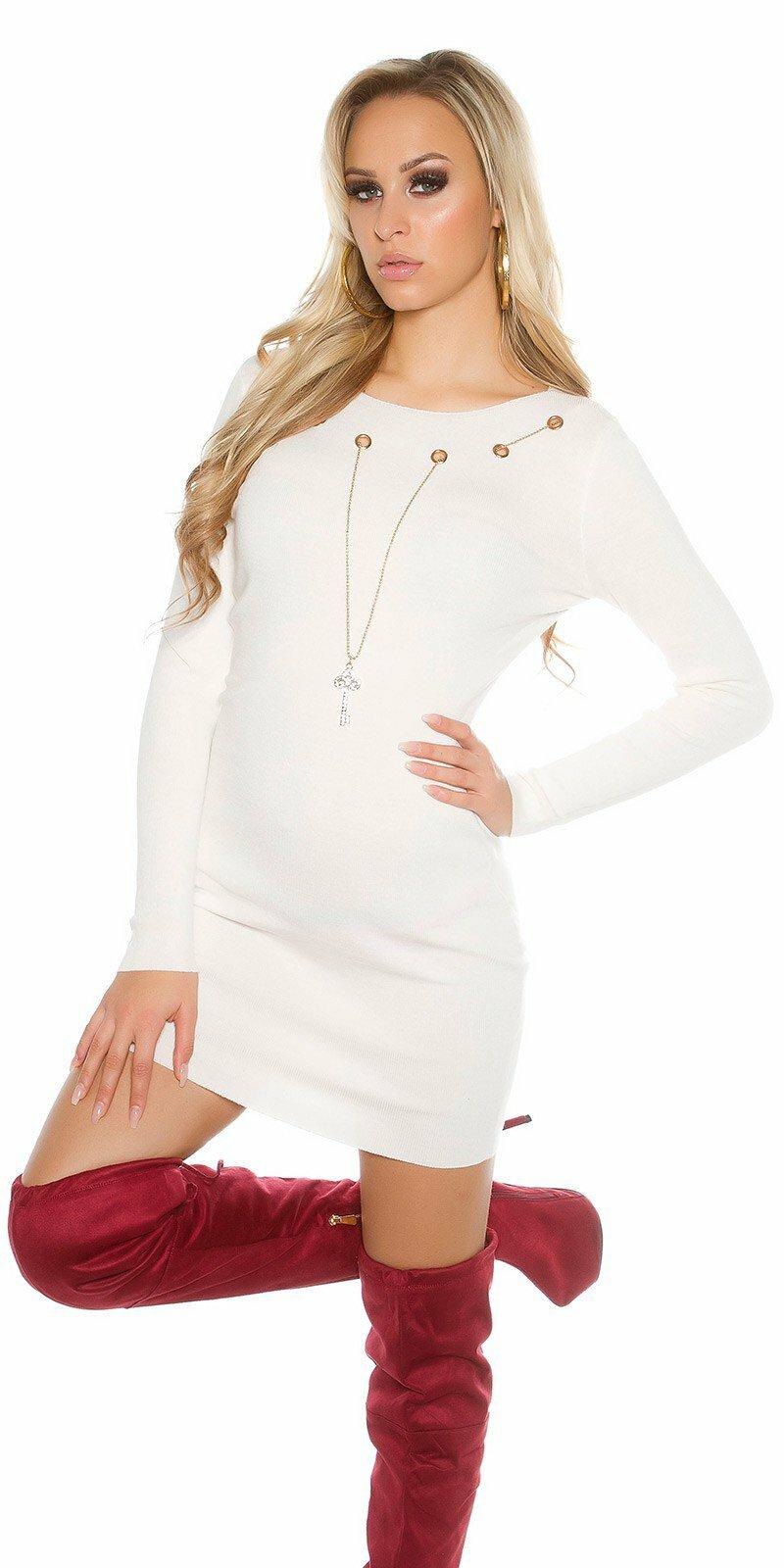 Dámske pletené šaty s ozdobnou retiazkou s kľúčom  Veľkosť Univerzálna (XS S M)  Farba Biela d419b65ff85
