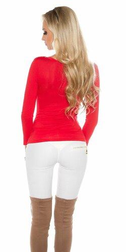Dámske tričko KouCla s dlhými rukávmi Červená