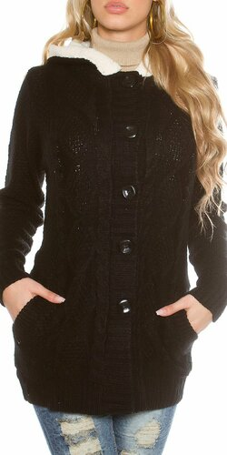 Dámska úpletová bunda (Čierna)