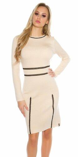 Dámske pletené šaty s dlhými rukávmi KouCla Béžová