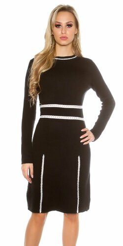 Dámske pletené šaty s dlhými rukávmi KouCla Čierna
