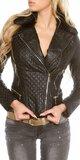 Dámska čierna bunda koženého vzhľadu Čierna