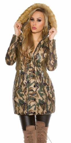 Dlhá dámska zimná maskáčová bunda
