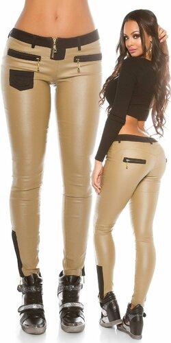 Dámske nohavice ,,leather look,, Béžová