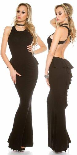 Dámske večerné šaty s odhaleným chrbtom
