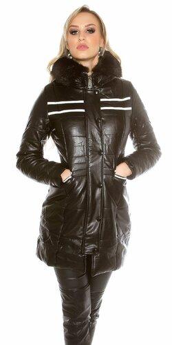 Dlhá zimná dámska bunda koženého vzhľadu (Čierna)