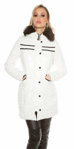 Dlhá zimná dámska bunda koženého vzhľadu Biela