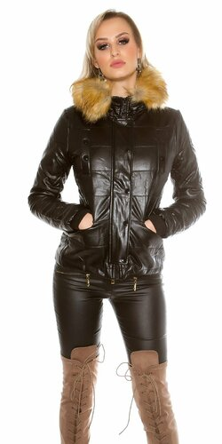 Dámska zimná bunda koženého vzhľadu (Čierna)