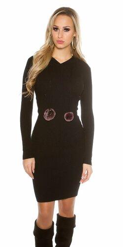 Dámske pletené šaty s brmbolcami | Čierna
