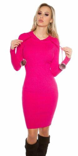 Dámske pletené šaty s brmbolcami Ružová