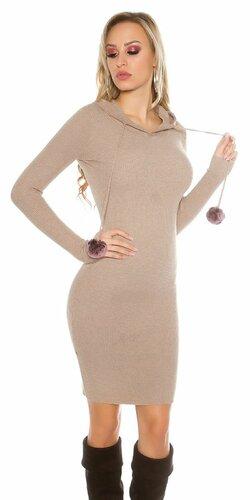 Dámske pletené šaty s brmbolcami | Béžová