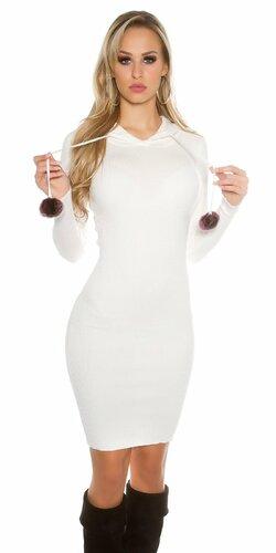 Dámske pletené šaty s brmbolcami | Biela