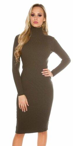 Dámske rolákové úpletové šaty | Khaky