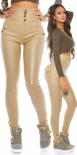 Dámske nohavice s vyvýšeným pásom koženého vzhľadu