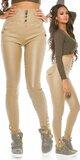 Dámske nohavice s vyvýšeným pásom koženého vzhľadu Béžová