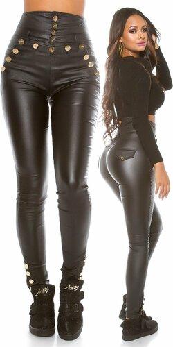 Dámske nohavice s vyvýšeným pásom koženého vzhľadu Čierna