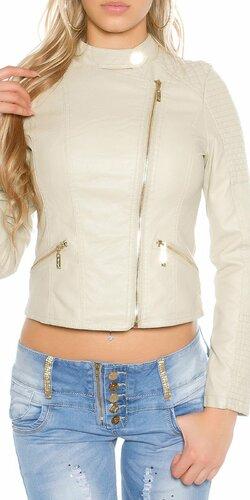 Dámska bunda s asymetrickým zipsom KouCla | Béžová