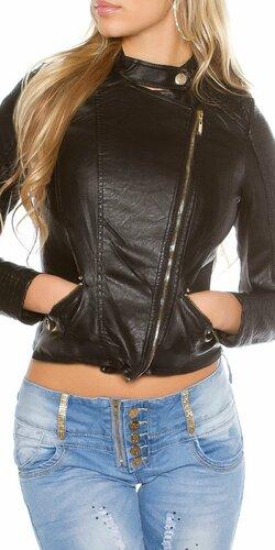Dámska bunda s asymetrickým zipsom KouCla | Čierna