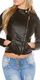 Dámska bunda s asymetrickým zipsom KouCla Čierna