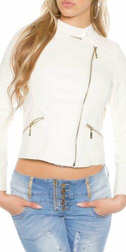 Dámska bunda s asymetrickým zipsom KouCla | Biela