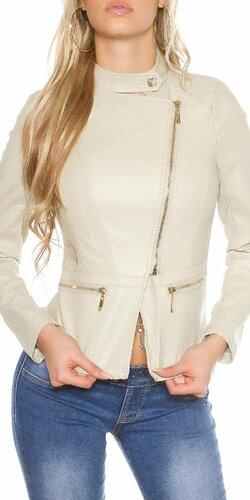Dámska bunda koženého vzhľadu s asymetrickým zipsom