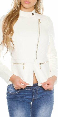 Dámska bunda koženého vzhľadu s asymetrickým zipsom | Biela