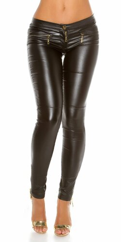 Kožené nohavice Koucla so zipsami Čierna