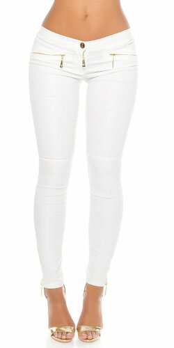 Kožené nohavice Koucla so zipsami Biela