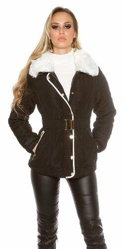 Zimná dámska čierna bunda s bielou umelou kožušinou