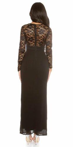 Dámske MAXI šaty KouCla s čipkou Čierna