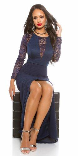 Dámske MAXI šaty KouCla s čipkou | Tmavomodrá