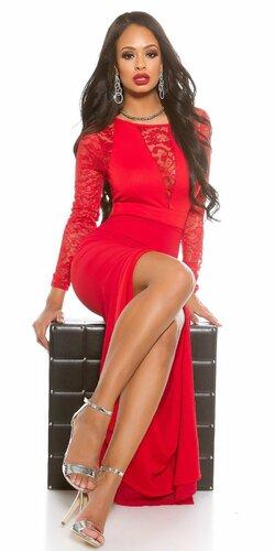 Dámske MAXI šaty KouCla s čipkou Červená