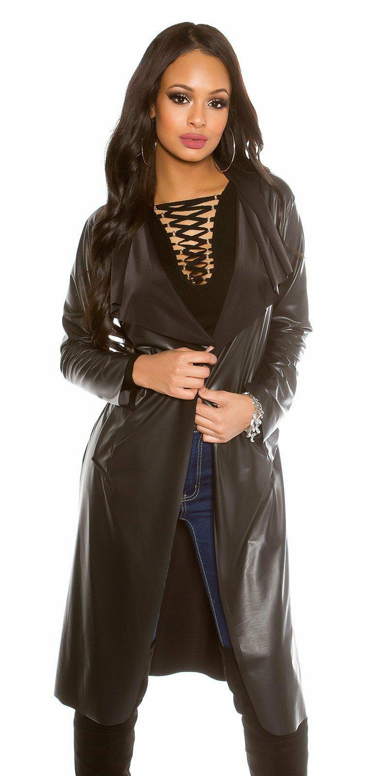 Dlhá bunda koženého vzhľadu KouCla  Veľkosť Univerzálna (XS S M) Farba  Čierna 969e69961f6