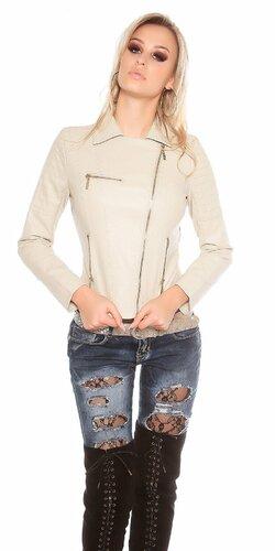 Dámska koženková bunda so zipsovaním Béžová