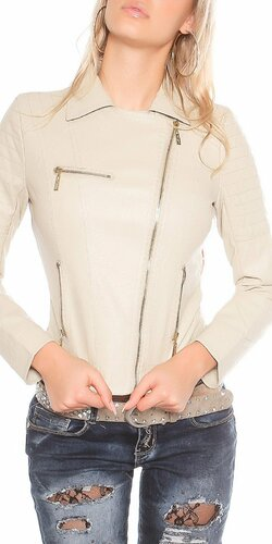 Dámska koženková bunda so zipsovaním | Béžová