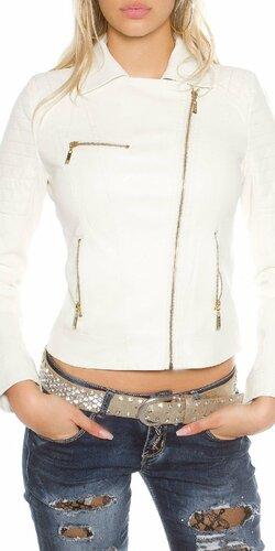 Dámska koženková bunda so zipsovaním Biela
