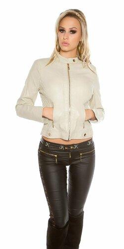 Dámska prešívaná koženková bunda so zipsom | Béžová