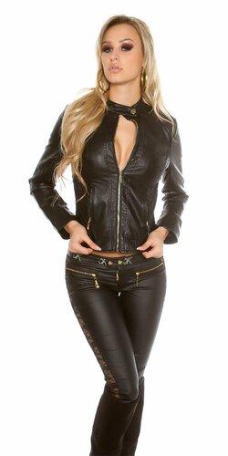 Dámska prešívaná koženková bunda so zipsom Čierna