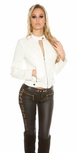 Dámska prešívaná koženková bunda so zipsom Biela