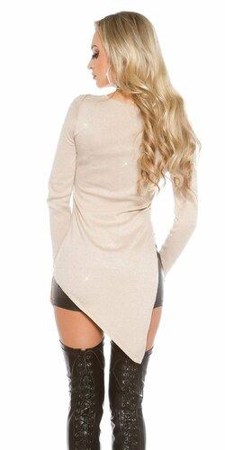 Lesklý glitrovaný dámsky sveter Béžová