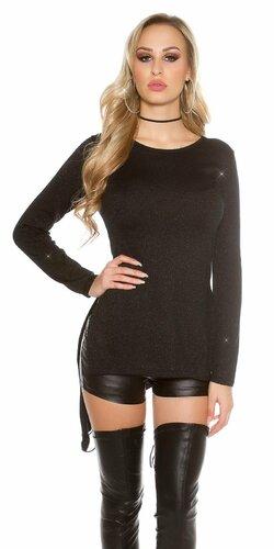 Lesklý glitrovaný dámsky sveter | Čierna