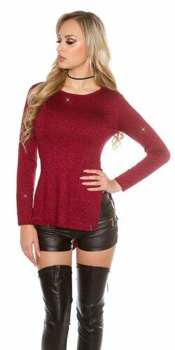Lesklý glitrovaný dámsky sveter | Bordová