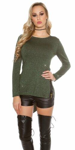 Lesklý glitrovaný dámsky sveter | Zelená