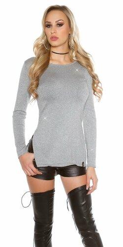 Lesklý glitrovaný dámsky sveter | Šedá tmavá