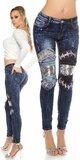Moderné dámske džínsy Modrá