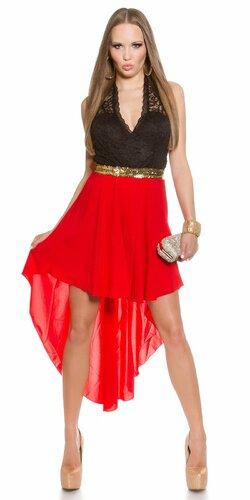 Dámske mini šaty s čipkovanou vrchnou časťou | Červená